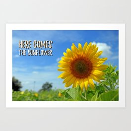Sunflower decor,Beatles art,Song Lyric,Home Decor,Printable Canvas,inspirational quote Art Print