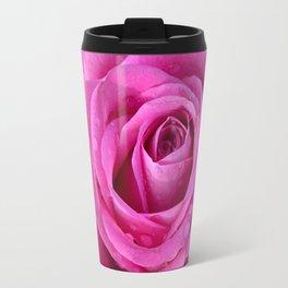 Pink rose close up with raindrops Travel Mug