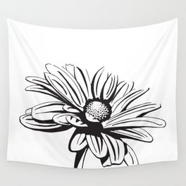 Gerbera Daisy Black & White Print Wall Tapestry
