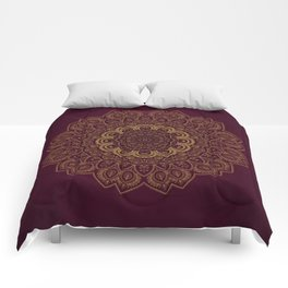 Gold Mandala on Royal Red Background Comforters