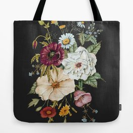Colorful Wildflower Bouquet on Charcoal Black Tote Bag