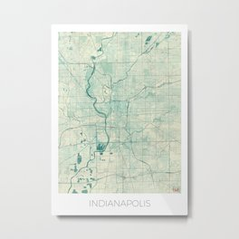 Indianapolis Map Blue Vintage Metal Print