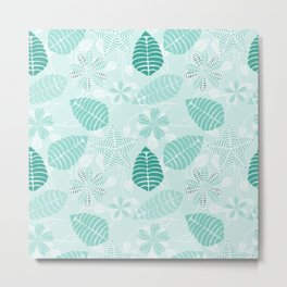 Abstract Floral Pattern in Shades of Teal and Green Metal Print