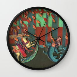 The Knight and the Mermaid Wall Clock