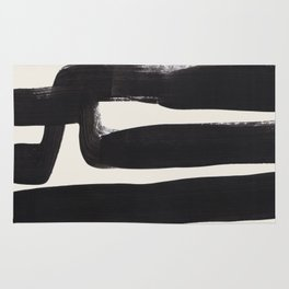 Mid Century Modern Minimalist Abstract Art Brush Strokes Black & White Ink Art Ancient Stripes Rug