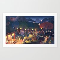 moomin Art Prints featuring Yokai Party by Chuck Groenink
