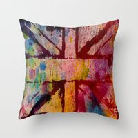 union jack Throw Pillows featuring Union Jack  by ChandaElaine