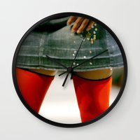 socks Wall Clocks featuring Red Socks by Premium