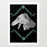 Borzoi head Colour Art Print
