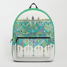 Art Deco Double Drop in Jade and Aquamarine on Cream Backpack