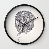 henna Wall Clocks featuring Henna Circle by Madeline Margaret