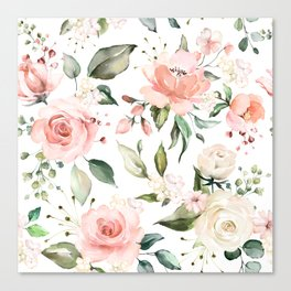 Sunny Floral Pastel Pink Watercolor Flower Pattern Canvas Print