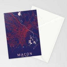 Macon, GA, USA, Blue, White, City, Map Stationery Cards