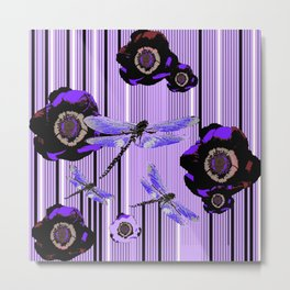 PURPLE DRAGONFLIES & BLACK POPPY FLOWERS ART Metal Print