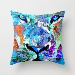 Wild Water Lion Throw Pillow
