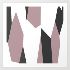 Gray Pink and White abstract Art Print