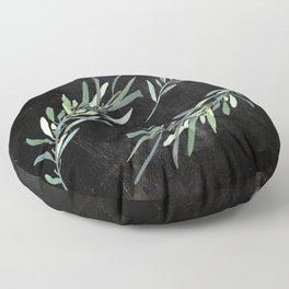 Eucalyptus leaves on chalkboard Floor Pillow