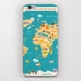 Animal map for kid. World vector poster iPhone Skin