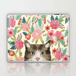 Cat floral pet portrait tabby cats Laptop & iPad Skin