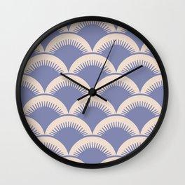 Japanese Fan Pattern Lavender and Beige Wall Clock