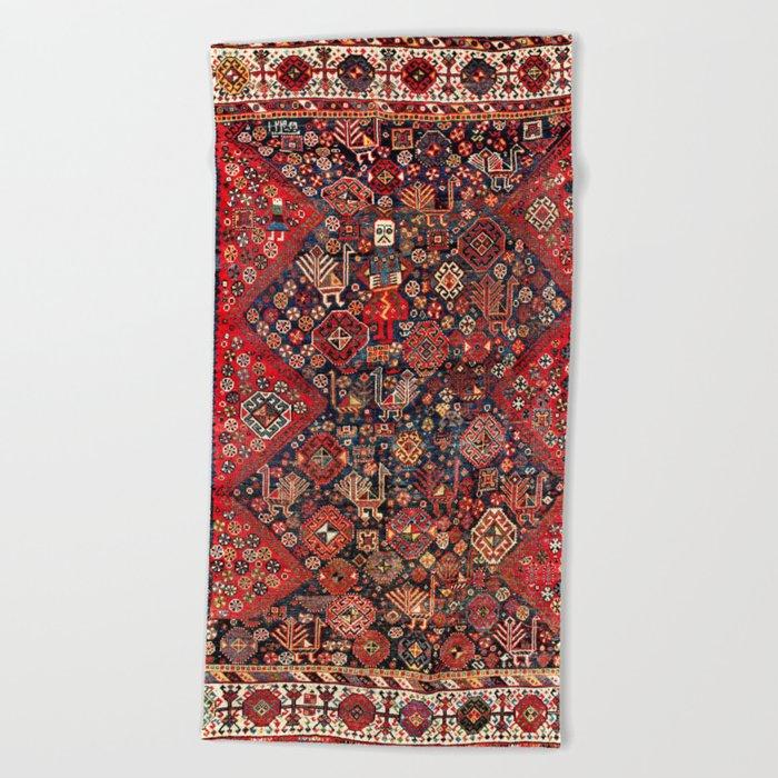 Qashqa'i Fars Southwest Persian Nomad Rug Print Beach Towel