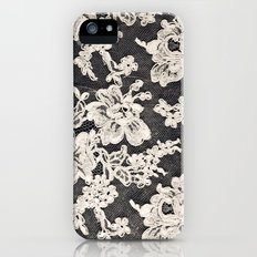 black and white lace- Photograph of vintage lace Slim Case iPhone (5, 5s)