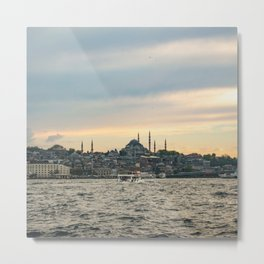 Turkish Sunset | Istanbul Turkey City Skyline Landscape Yellow Orange Color Sky Water Waves Metal Print