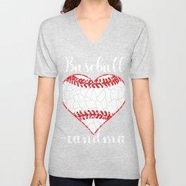 Baseball Grandmother Grandma Heart Brittle Sweet Gift Unisex V-Neck
