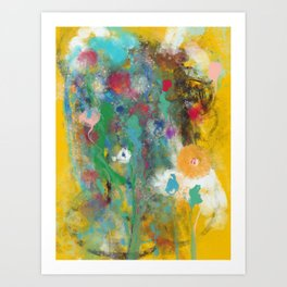 Abstract Flowers in Bloom Watercolor Painting by Emmanuel Signorino Art Print