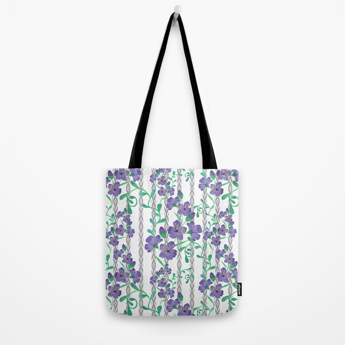 Flowers on a striped background. Tote Bag