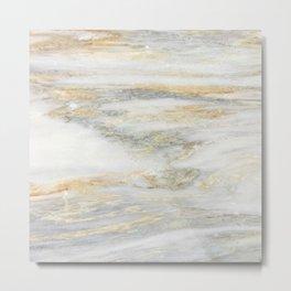 White Gold Marble Texture Metal Print