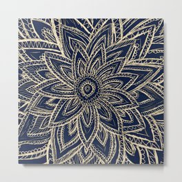 Cute Retro Gold abstract Flower Drawing  geometric Metal Print