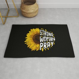 Strong Woman Pray Religious God Jesus Sunflower Christianity Rug