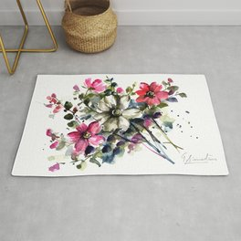 Blooms-I Loose Watercolor Botanical Art Rug