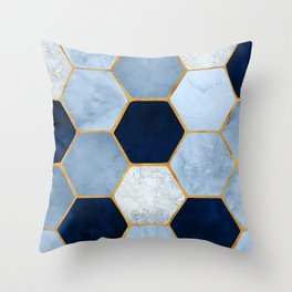 Deco Blue Marble II with Metallic Gold Accents Throw Pillow
