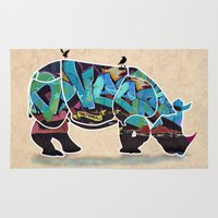 rhino Area & Throw Rugs featuring Rhino by mark ashkenazi