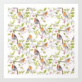Robins in watercolour Art Print
