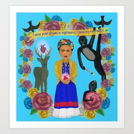 Frida Kahlo Tribute Blue Art Print