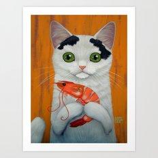 CAT AND BIG SHRIMP Art Print