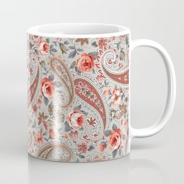 Gray Red Rose Floral Paisley Coffee Mug