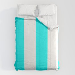 Wide Vertical Stripes - White and Aqua Cyan Comforters