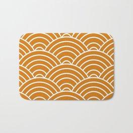 Orange Japanese Seigaiha Wave Bath Mat