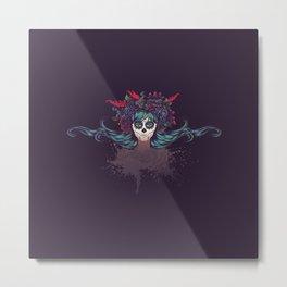 Sugar skull girl with blue hair Metal Print