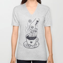 I Like My Coffee With a Taste of Good Music Unisex V-Neck