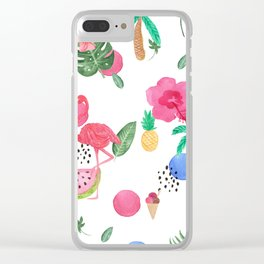 Colorful tropical summer flowers & pink flamingos Clear iPhone Case