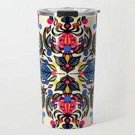 Bright Folk Art Pattern - hot pink, orange, blue & green Travel Mug