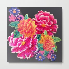 Oriental Peony Embroidery Metal Print