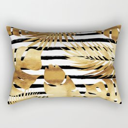 Tropical Leaves & Stripes - Black Rectangular Pillow
