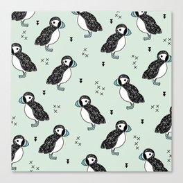 Cute Icelandic Puffin birds mint pattern Canvas Print