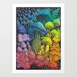Rainbow Mushroom Composition #3 | Watercolor Illustration Art Print